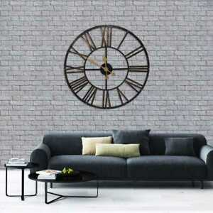 78cm-Large-Vintage-Metal-Wall-Clock-Indoor-Outdoor-Roman-Numeral-Black-Clock