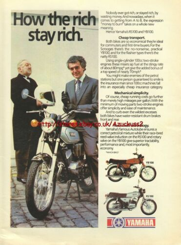 RS100 Motorcycle 1980 Magazine Advert #3707 Yamaha YB100