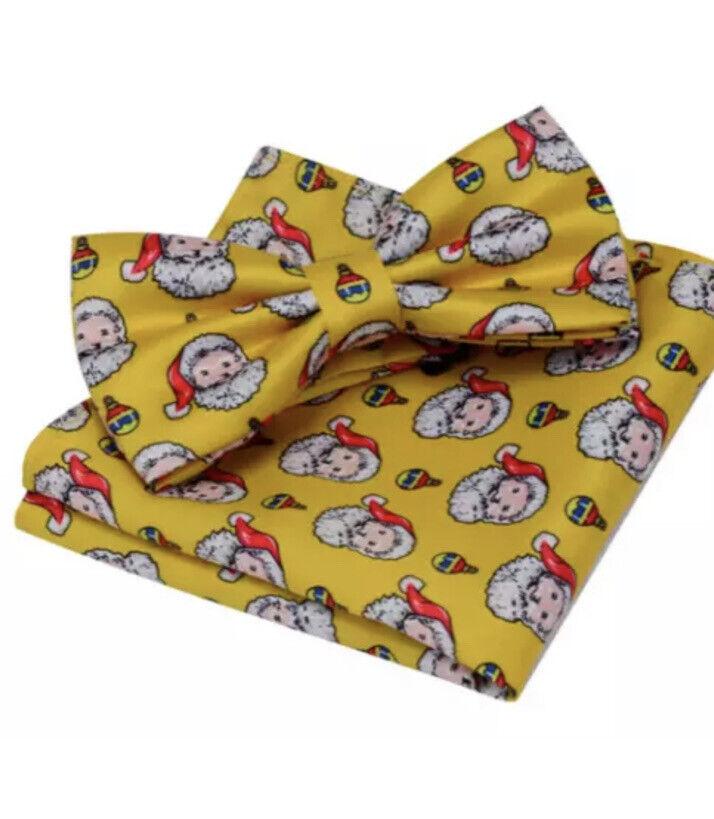 Christmas Men's Yellow With Santa Claus Bowtie And Hanky Handkerchief Set