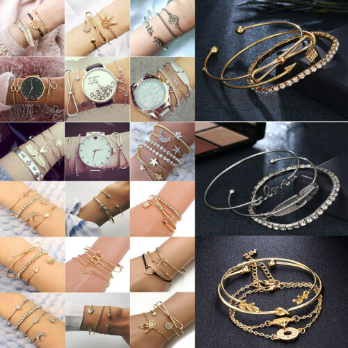Multilayer Gold Silver Women Crystal Cuff Bangle Chain Pendant Bracelet Set Gift