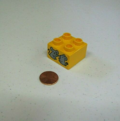 Lego Duplo 2 MICE MOUSE PRINTED BLOCK Specialty Yellow Counting Piece