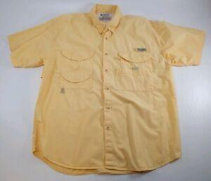 Columbia Sportswear Mens Large Yellow Fishing Shirt Short Sleeve PFG Performance