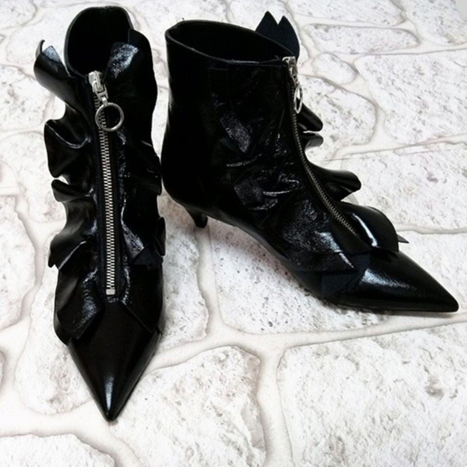 ZARA BLACK 5 LEATHER ANKLE Stiefel SIZE 5 BLACK 6 UK 38 39 EU 7.5 8 US e39ac0