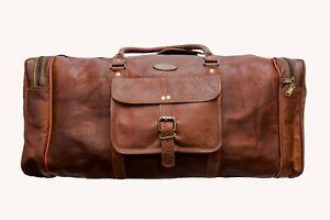 Men/'s genuine Brown Leather Retro vintage Large Vintage duffle travel gym bag