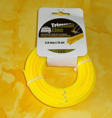 Trimmerfaden Schneidfaden 5-kant Ø 3 mm 0,58€//m 15 m Mähfaden Ersatzfaden