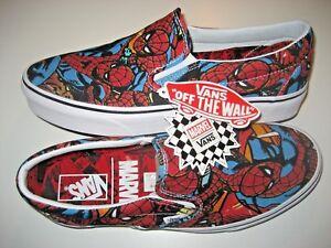 eab610c98a Vans x Marvel Spider Man Classic Slip on Mens Black Canvas Skate ...