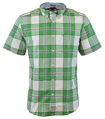 64d3b245 NEW Tommy Hilfiger Men's Short Sleeve Classic Fit Button-Down Shirt AMAZON  GREEN