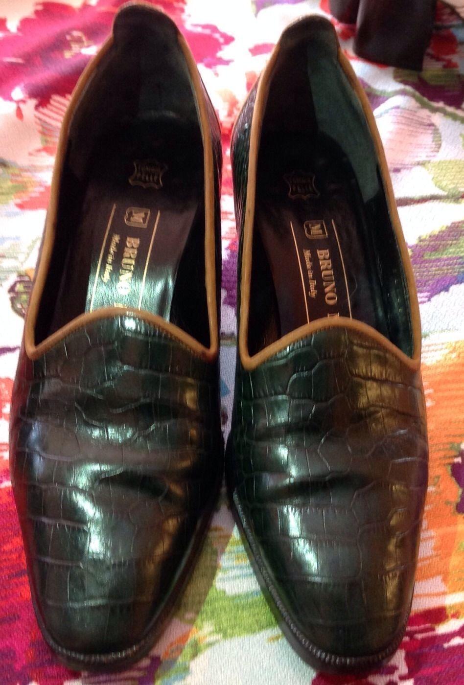 benvenuto per ordinare Authentic Bruno Bruno Bruno Magli Forest verde Croc Stamped Leather w  Tan Suede Trim SZ 35  i nuovi marchi outlet online