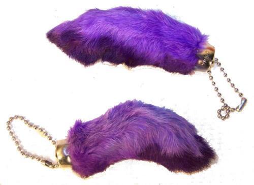 2 PURPLE REAL RABBIT FOOT KEY CHAINS colored bunny feet good luck keychain fur
