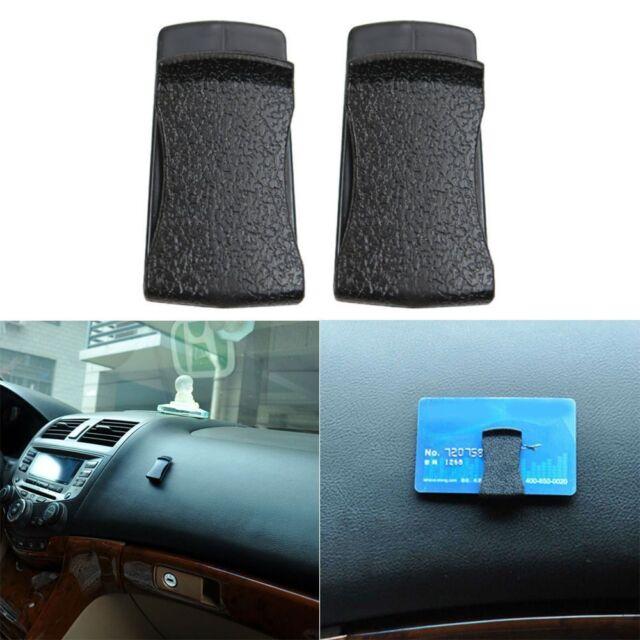 Auto Interior Black Leather Clip Holder Stickers For Card Glasses Handbags 4pcs