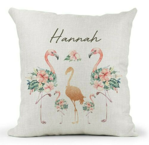 Personalised Rose Gold//Floral Flamingo Cushion. Daughter//Friend 16th 18th 21st