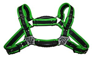 Men Leather Restrain Chest Harness Gay Interest Fancy Buckles with pulls handle