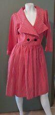 Vtg '90s Yves Saint Laurent Rive Gauche  Red Pinstripe Dress Size 40 US 8 / 10