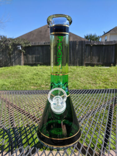 """Glass Beaker Water Pipe Bong Phoenix 10/"""" Tall Fading Green with Gold Lines"""