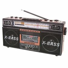 BRAND NEW SuperSonic SC‑3200 Retro 4‑Band Radio and Cassette Player Wood