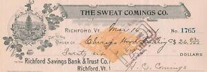 1901 THE SWEAT COMINGS CO. RICHFORD.  VERMONT, REVENUE STAMP & VIGNETTE