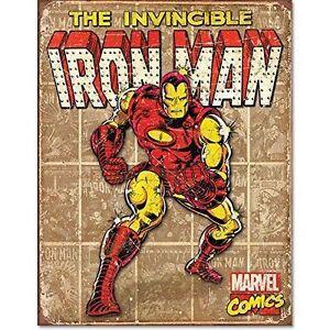 GRANDE-IRON-MAN-MARVEL-LEGENDS-IRON-MAN-in-metallo-Vintage-retro-in-metallo-tin-sign-1650