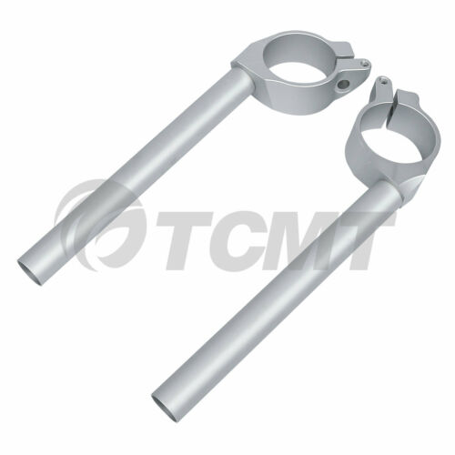 50mm Left/&Right Handle Bar Clip On Silver For YAMAHA YZF R6 600 06-16 07 08 09