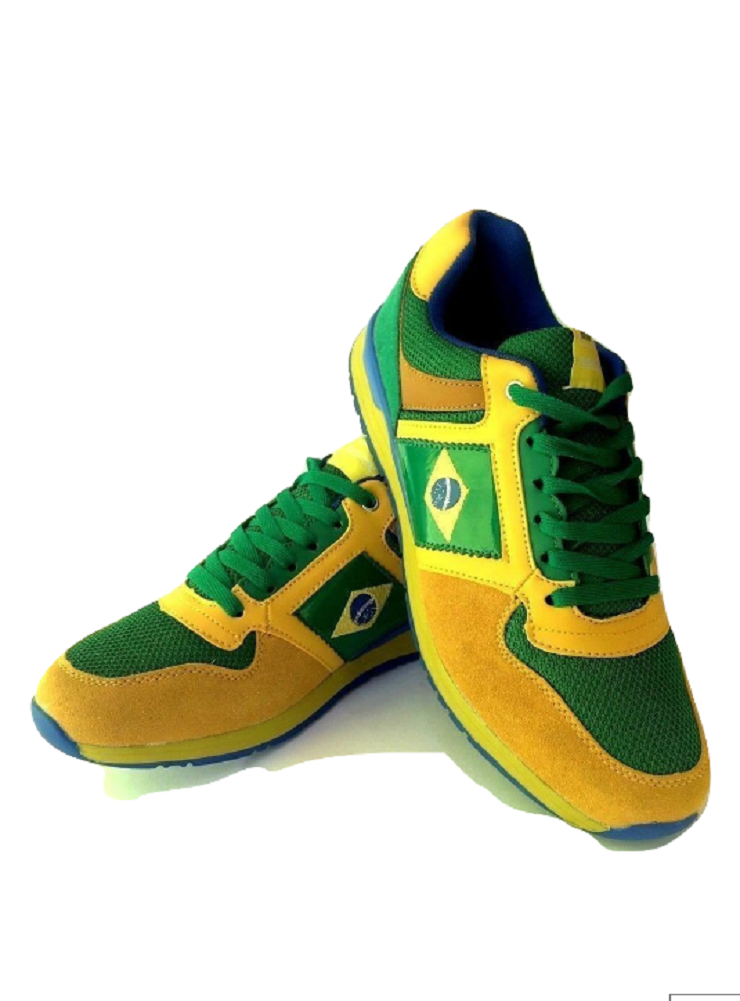 Mens Brazil Brazilian Flag gold and Green Sneakers trainers shoes 6 7 8 9 10 11