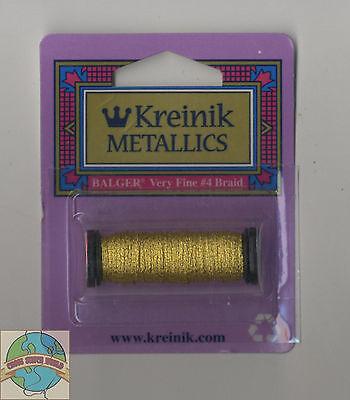 VF-002J Kreinik Very Fine Metallic Braid #4 12yd-Japan Gold