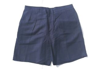 Austin Reed London Navy Blue Pleated Linen Rayon Dress Shorts Size 40 Ebay