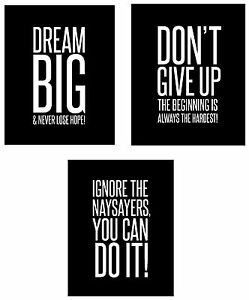 Details about Dream Big 3-Set Wall Posters 8x10 inch Motivational  Inspirational Famous Quotes