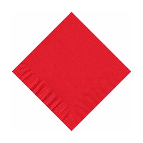 Red 50 Plain Solid Colors Beverage Cocktail Napkins Paper