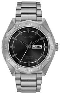 Citizen-Eco-Drive-Men-039-s-Grey-Dial-Super-Titanium-Bracelet-44mm-Watch-AW0060-54H