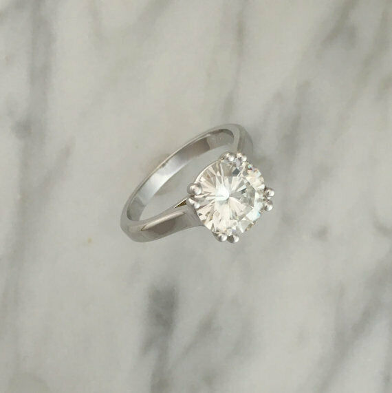 2.00 Ct Round Diamond Engagement Ring 14K Solid White gold Rings Size 6 +0128