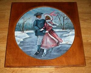 VINTAGE-VICTORIAN-ICE-SKATING-WINTER-SNOW-MAN-WOMAN-ROMANCE-WOOD-OIL-PAINTING