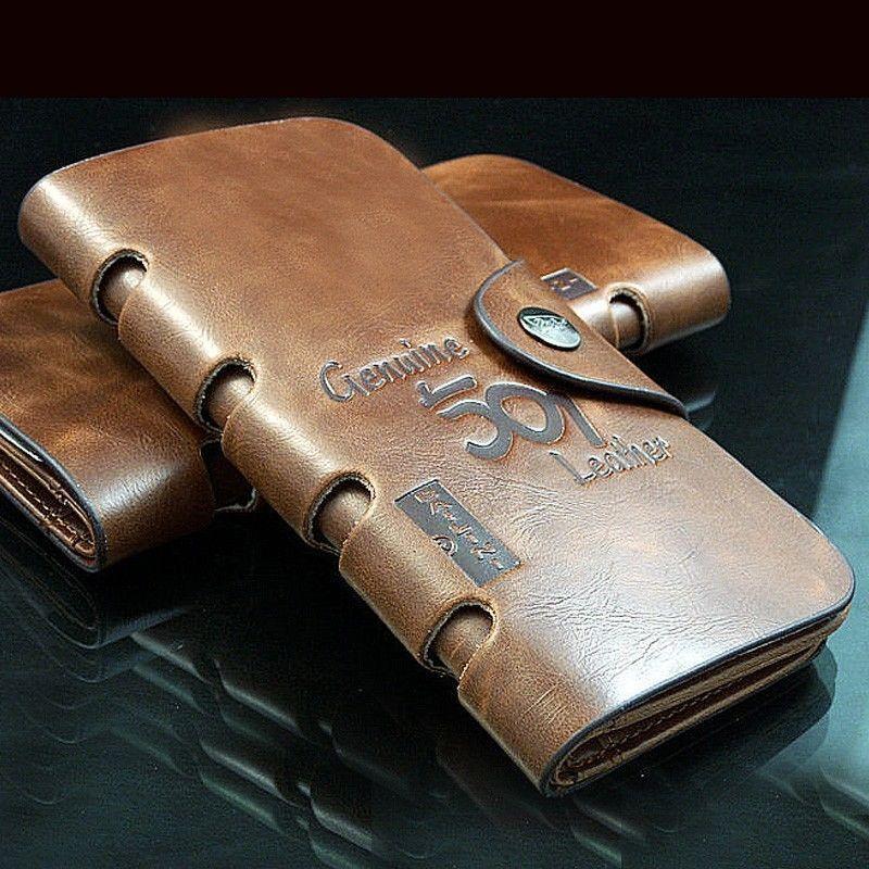 men s leather purse pockets brown long