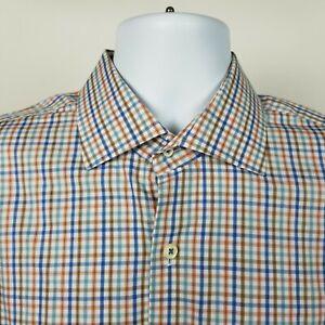 Peter Millar Mens Blue Brown Mini Check Dress Button Shirt Size Large