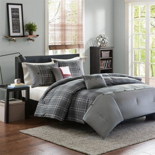 Gray & White Plaid Full Queen Comforter, Shams & Toss Pillow 5 Pc Bed In A Bag