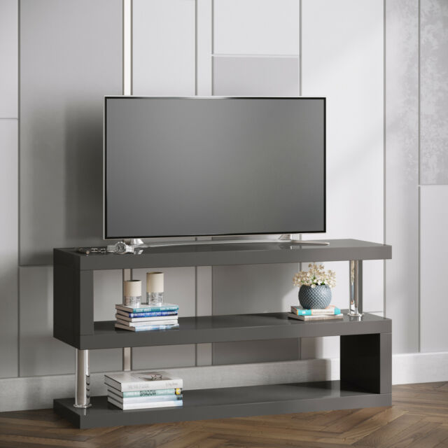 meet d34e5 3996f Miami Grey Gloss Modern S Shaped TV Stand / Unit for TVS up to 50