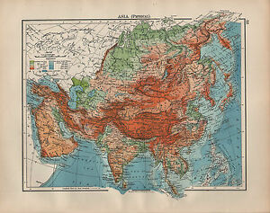 Map Of Asia Mountains.Details About 1902 Map Asia Physical Land Heights Tibet Mountain Ranges Siberia India