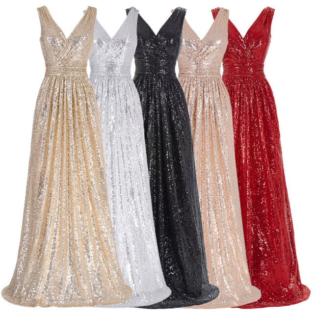 Deep V-neck Wedding Bridesmaid Formal Gown Evening Prom Party Maxi Dress Pageant
