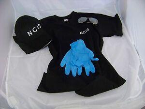 Navy-CIS-Cap-T-Shirt-M-Brille-Handschuhe-NCIS-Kostuem-Fasching