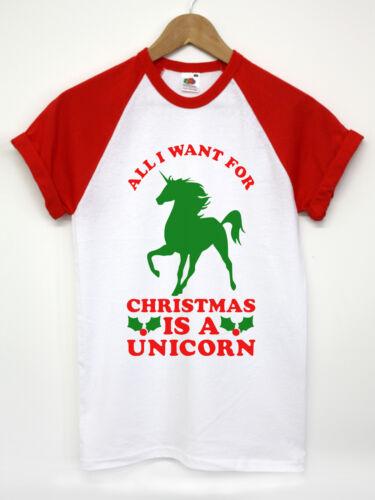 ALL I WANT FOR CHRISTMAS IS A UNICORN T SHIRT FUNNY XMAS PRESENT SECRET SANTA