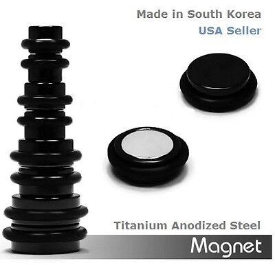 Black Titanium Anodized Steel Magnetic Earrings Fake Ear Plugs Sold as 1 Pair