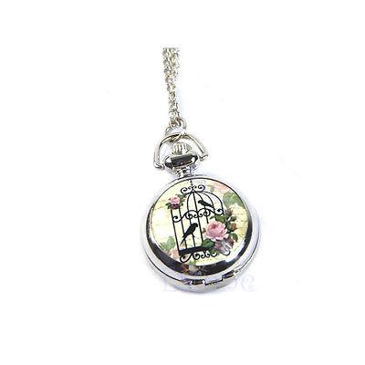 Cute Birdcage Bird Flower Pendant Necklace Pocket Watch Xmas Gift Girls'