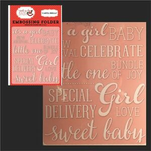 baby embossing folder carta bella sweet baby girl folders words