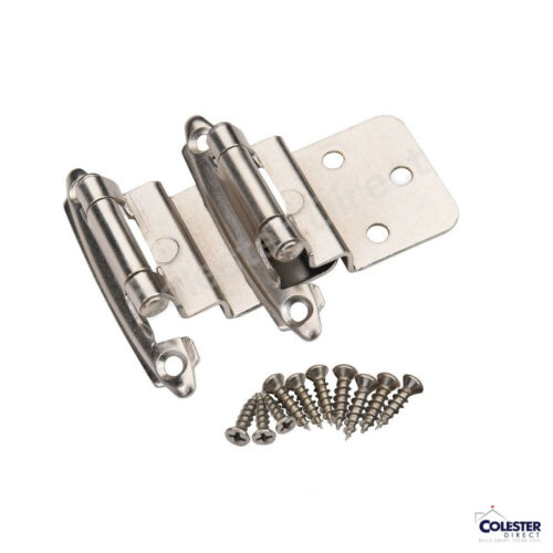Qty 50 Satin Nickel Self Closing Cabinet Hinge Face Mount Overlay 3//8 Inset