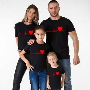 Family Matching Clothes Mother And Daughter Father Son Kids Baby T-shirt Heart