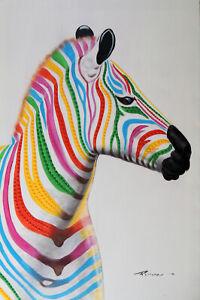 Zebra-Portrait-Horse-Modern-Pop-Art-Mixed-Media-24X36-Oil-Painting-Stretched