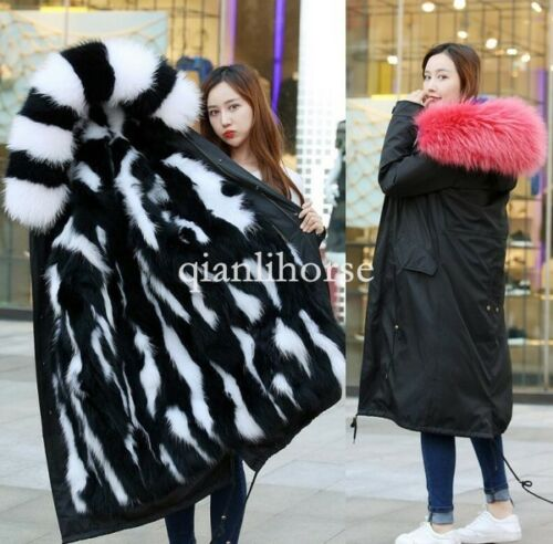 Thicken Parka Warm Outwear Luxurious Linded Jacket Hooded Fox Women Real Fur 6qxYaBg