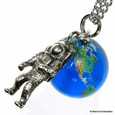 Planet Earth & Astronaut Pendant Necklace -22mm Glass Marble World Globe