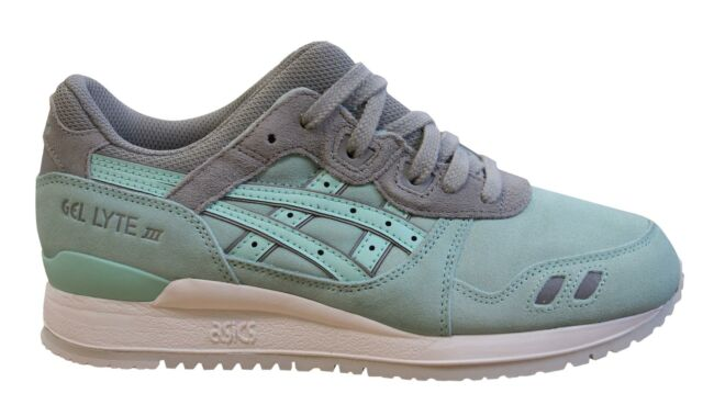 Asics Gel-Lyte III Mens Trainers Mint Grey Leather Lace Up Shoes H63NK 7878