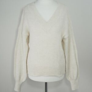 NEXT-Knitted-Jumper-Size-XS-6-Ivory-Beige-Marl-Wool-Blend-Balloon-Sleeve-Relaxed