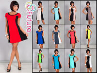 Stylish Women's Shift Dress Short Sleeve Scoop Neck Tunic Size 8-12 8488