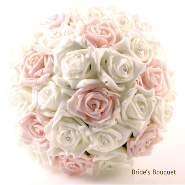 Crystal Wedding Bridal Bridesmaid Flower Girls Foam Roses Bouquet Posy baby pink